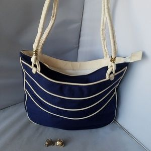 Vintage Navy Blue White Purse Bag & Crab Earrings